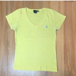 Ralph Lauren Yellow V-neck Tee Size M